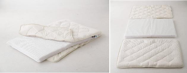 ハニカム立体構造のベビー用敷布団 赤ちゃんと敷布団の間に空間を作り、蒸れを作ります。