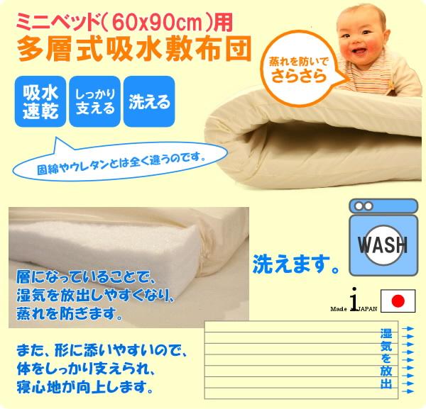 敷布団だって手を抜きません。不快な蒸れを防ぎ、寝姿勢をきれいに保つミニベッド対応のベビー敷布団